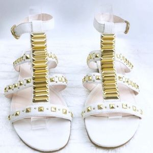 Rachel Roy White Leather Gold Gladiator Sandal 8